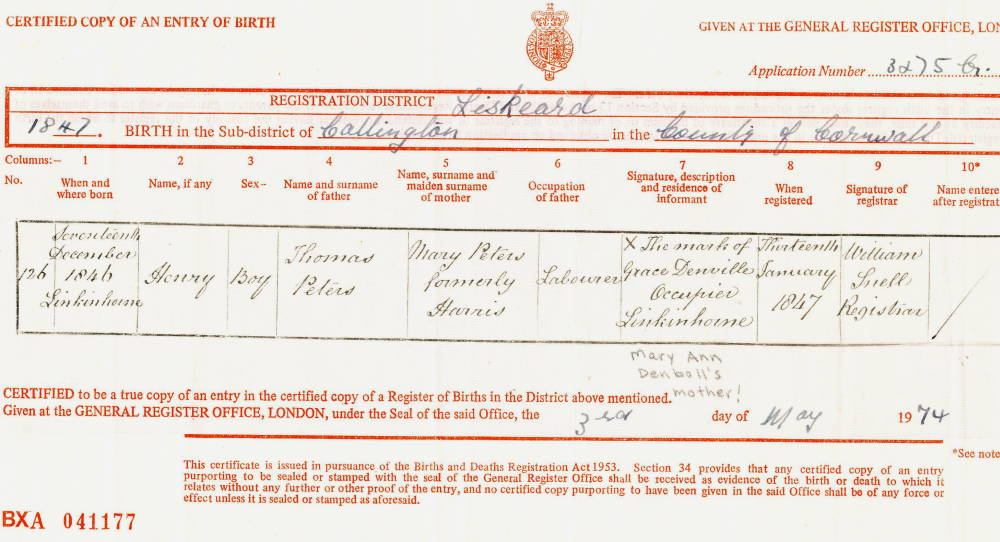 9122016 lostcousins newsletter when jean obtained this certificate in 1974 she couldnt be sure that it was the right one if it was then the birth had been registered by the childs yadclub Images